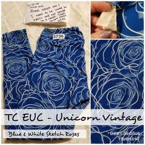Lularoe Leggings TC - Blue Sketch Roses